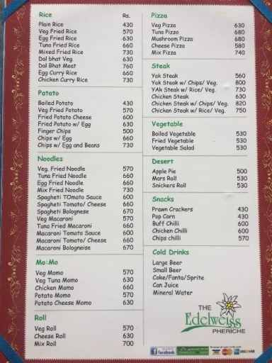 Another average menu and food prices on the Everest Base Camp Trek (in Nepali Rupees)
