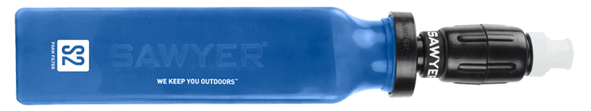 The Sawyer Select S2 Portable Water Purifier removes bacteria, parasites, protozoa, viruses, and chemicals with a squeeze of the bottle