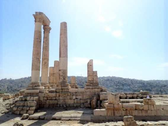 The Temple of Hercules sits atop the hill of the Citadel, overlooking Amman | Amman, Jordan Travel