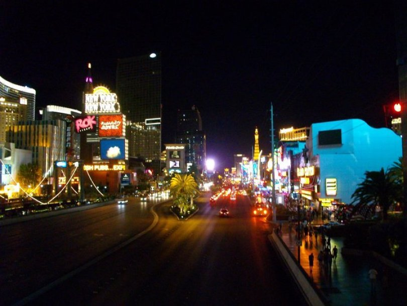 View of the Strip from the MGM-NYNY Skywalk, Las Vegas