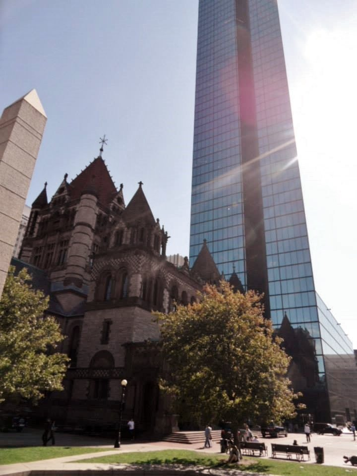 The old and the new - Trinity Church and John Hancock Tower, Boston