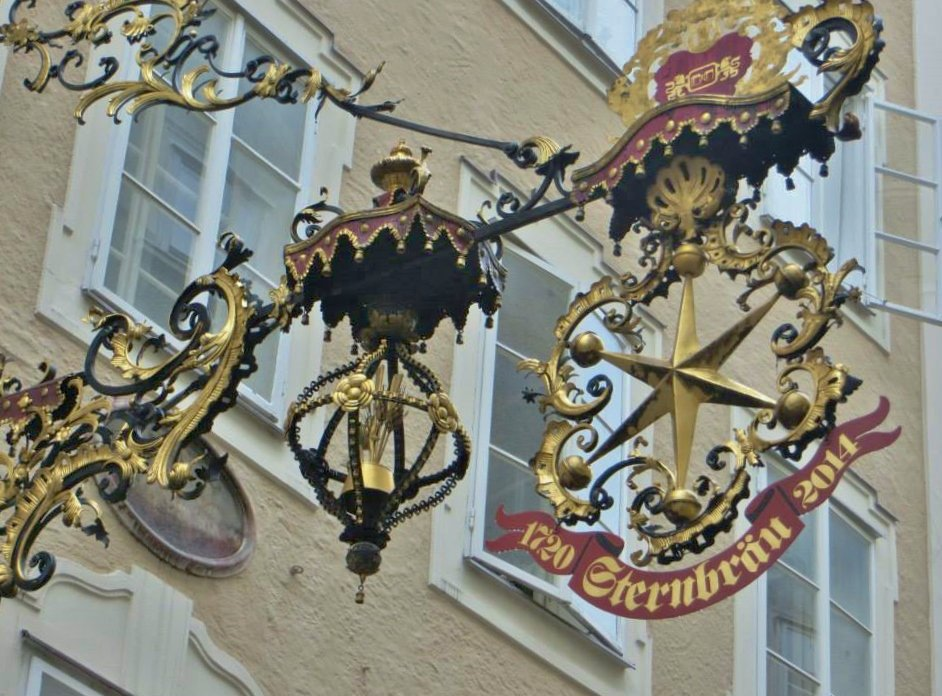 Beautiful ornate signage... — at Getreidegasse.