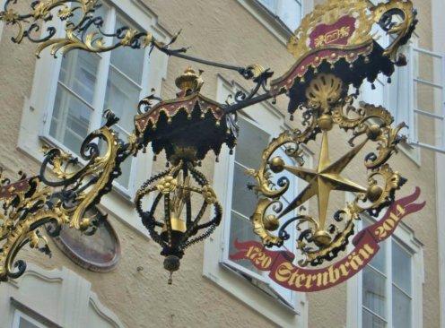 Beautiful ornate signage... — at Getreidegasse.