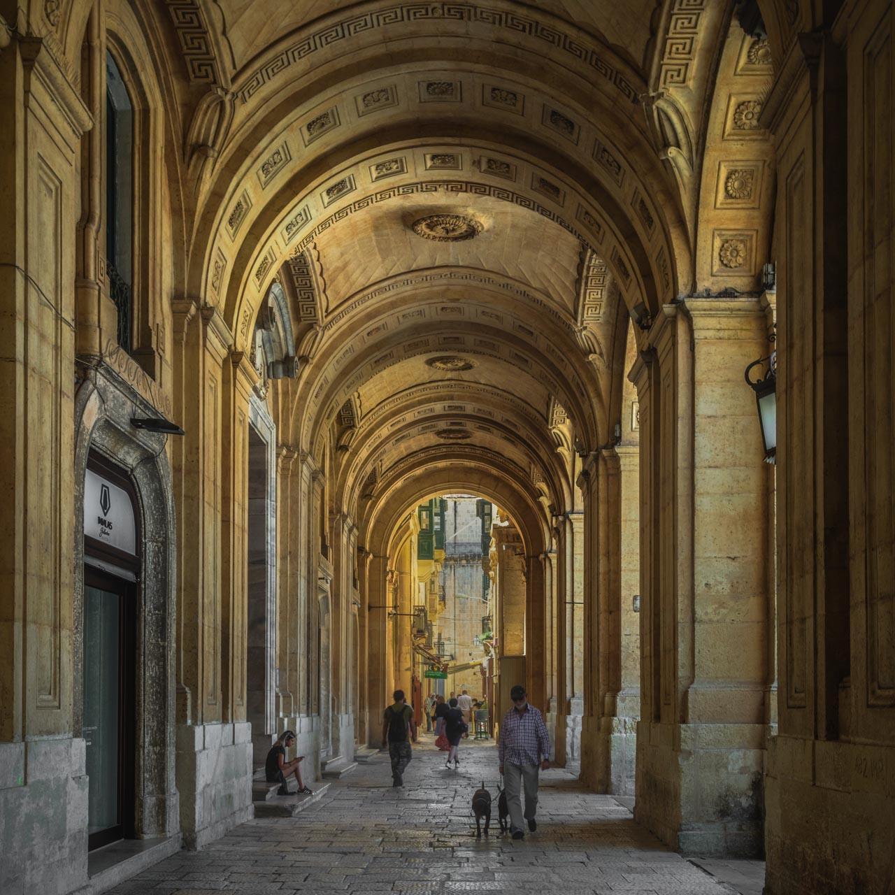 Valletta, Malta, arched walkway