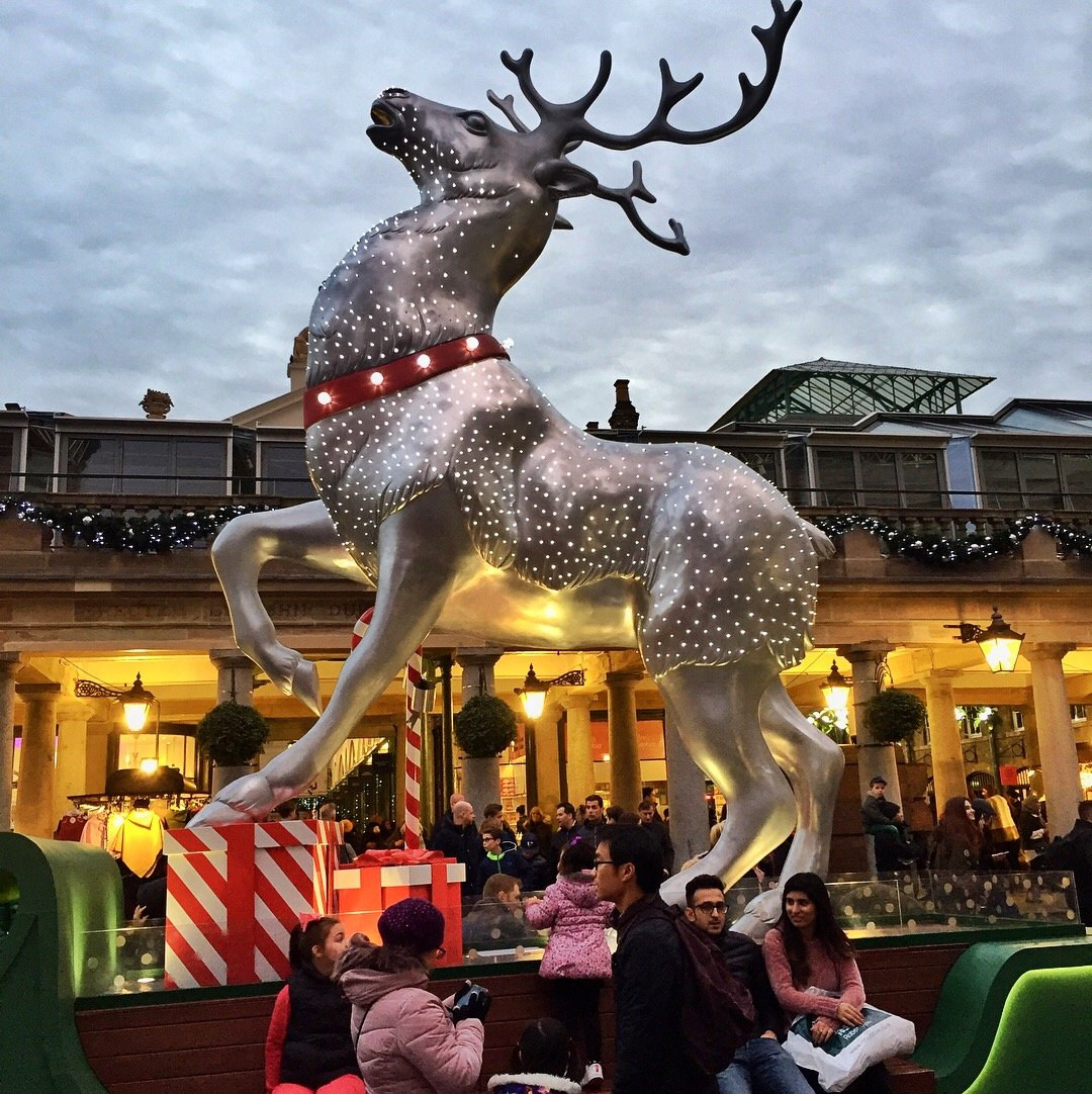 The magnificent silver reindeer statue outside Covent Garden