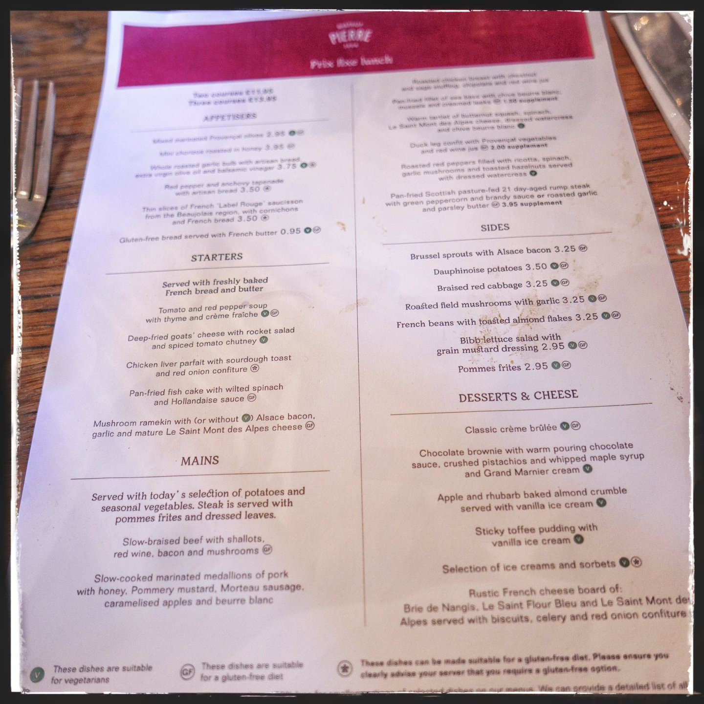 Prix Fixe Lunch menu at Bistrot Pierre Birmingham