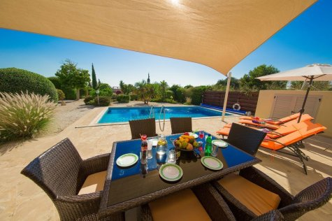 Villa exterior, al fresco dining, swimming pool, Paphos, Cyprus