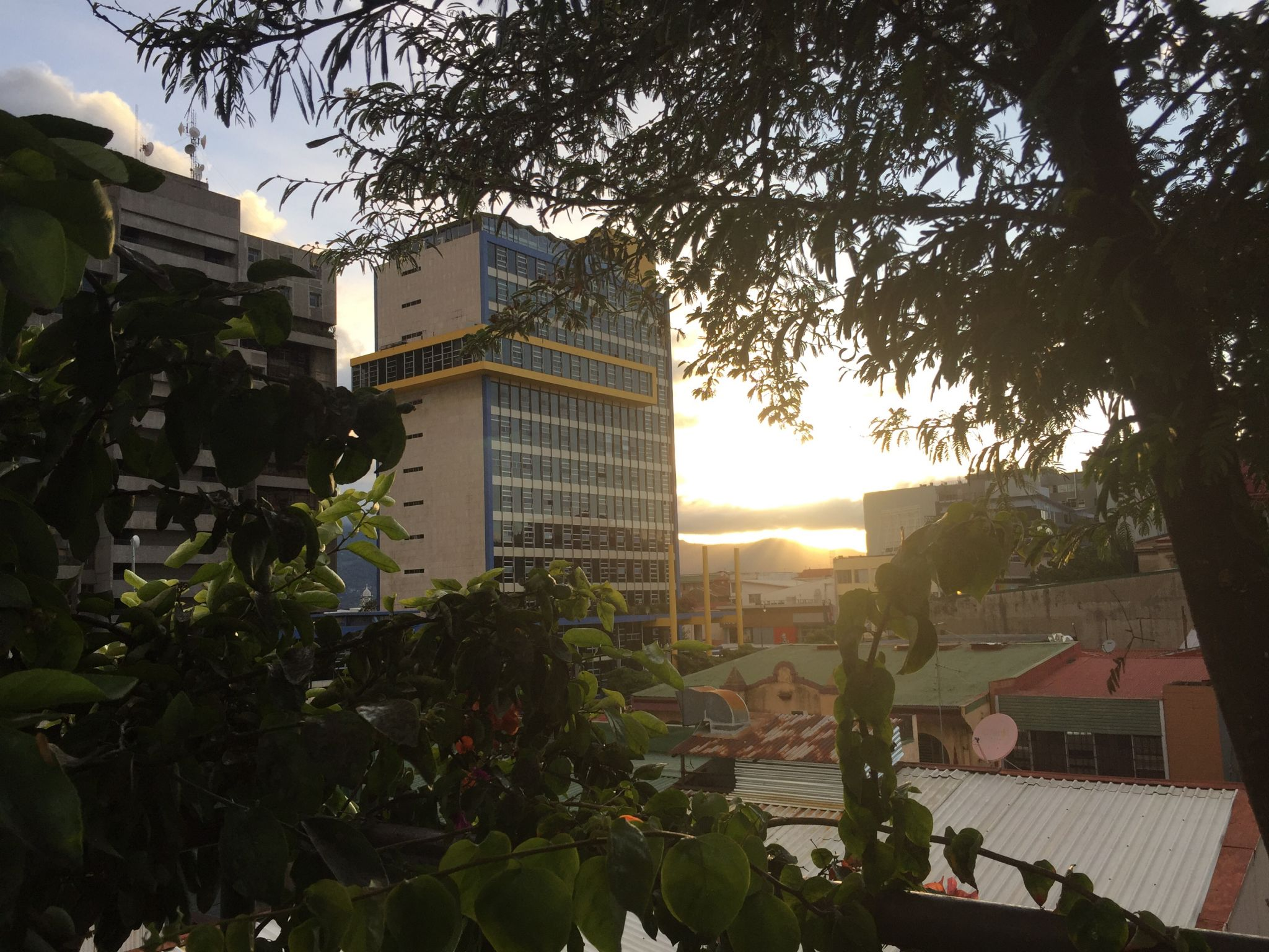 Sunset Rooftop view from the bar at El Presidente. San Jose, Costa Rica
