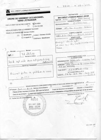 2009 RANARISON Tsilavo CEO NEXTHOPE signe les virements bancaires de CONNECTIC Page2