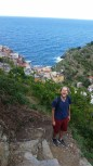 Crested the hill, now a treacherous walk down steep steps into Manarola.