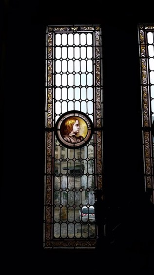Stained glass in the old city hall.