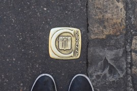 These trail-markers are everywhere in Aix.