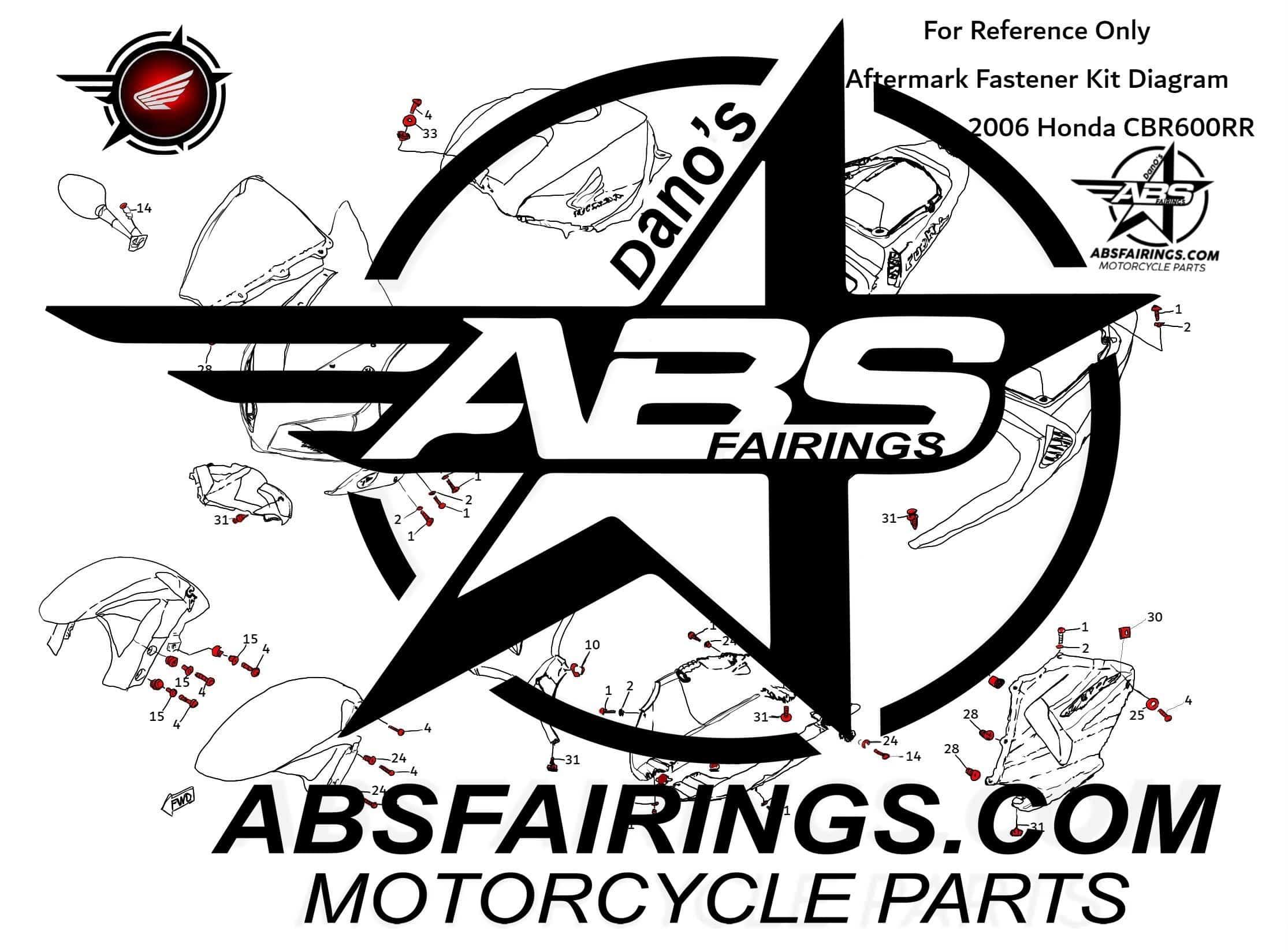 Fairing Fastener Kit For Honda To Cbr600rr