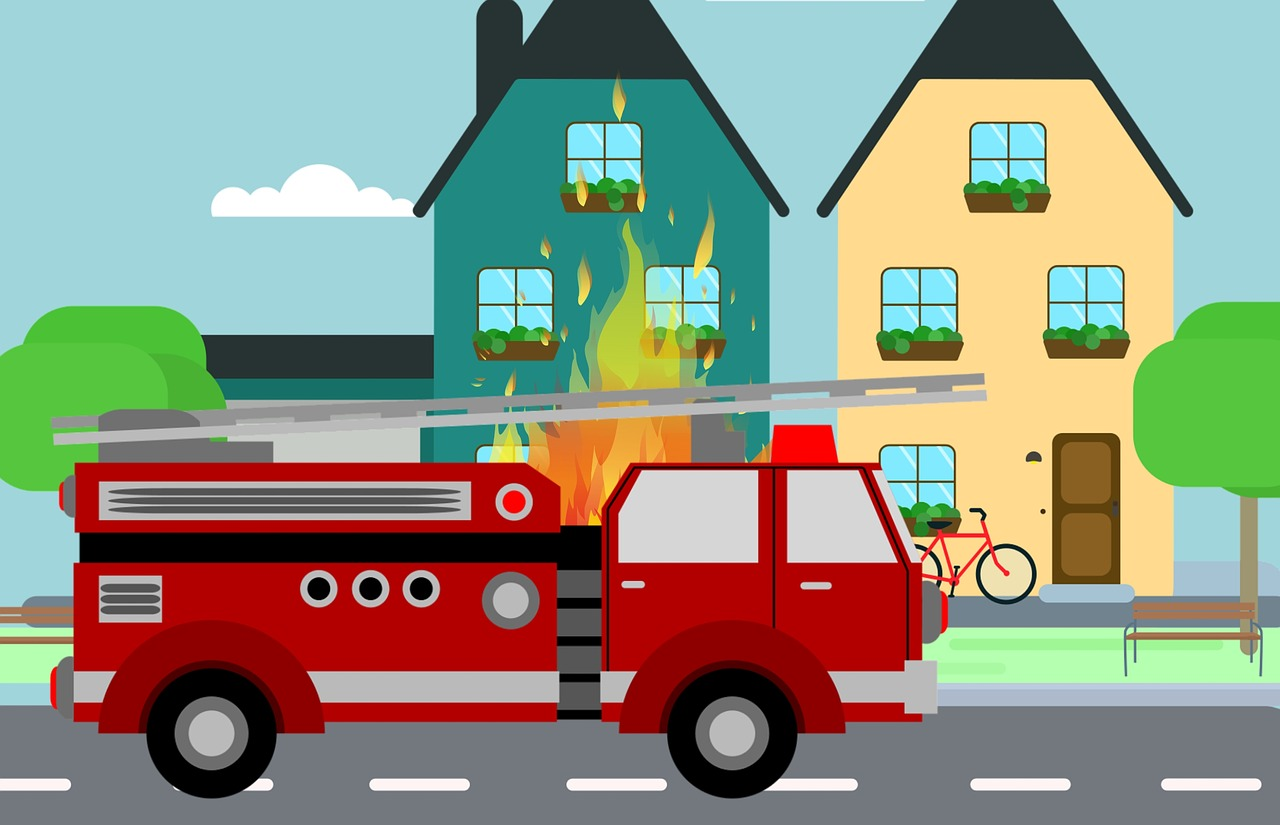 fire, truck, fighting