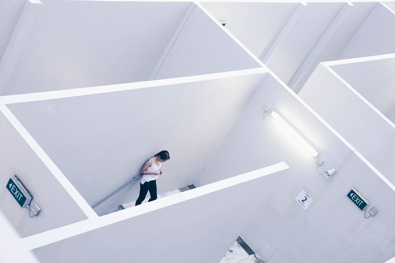 architecture, white, cubicle