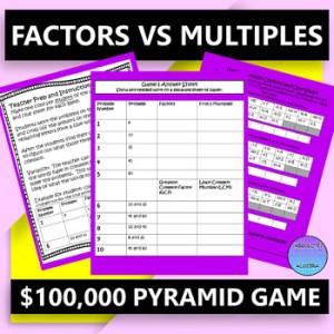 Factors VS Multiples Game Show Activity