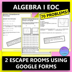Algebra End of Course Escape Rooms Google Forms