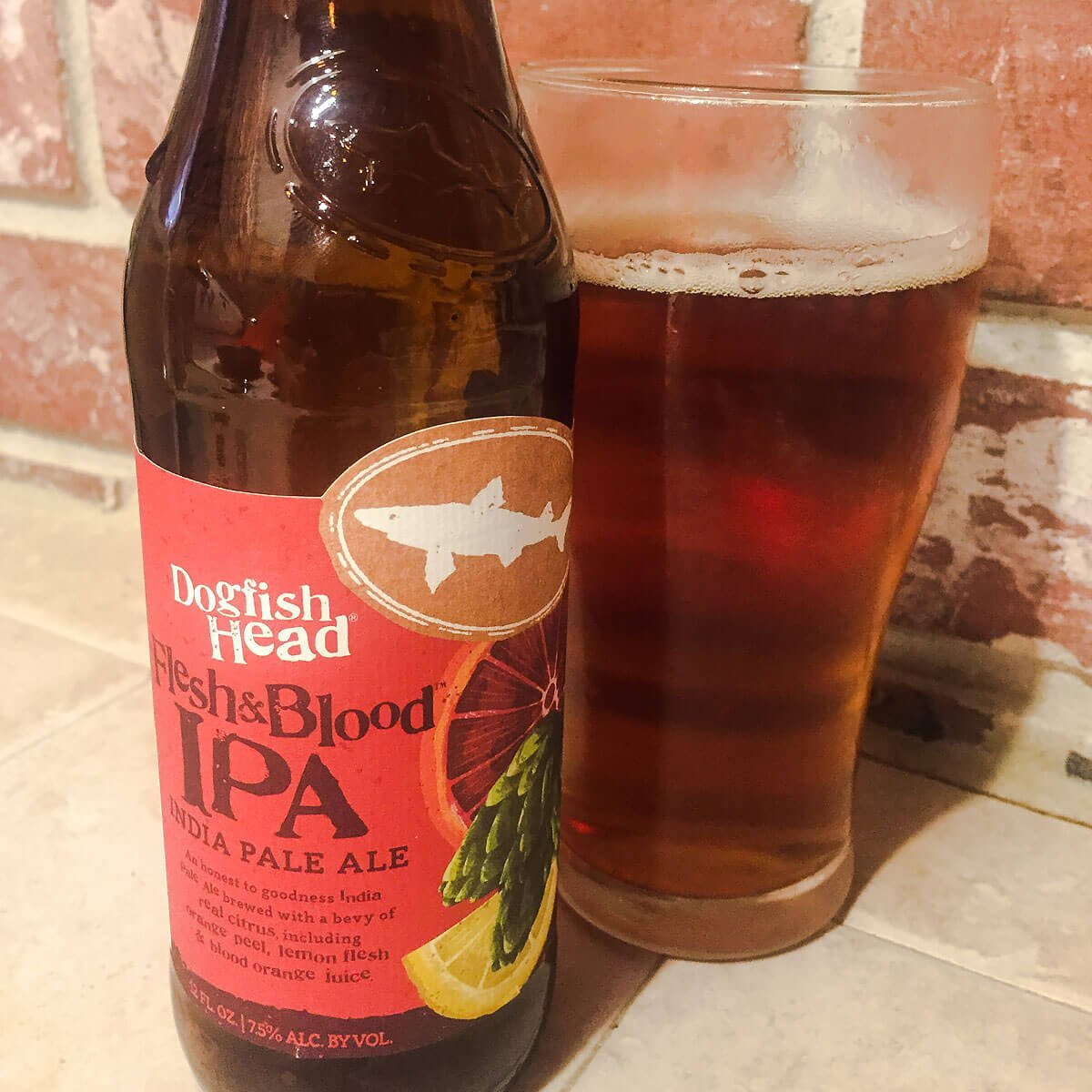 Flesh & Blood, an American IPA by Dogfish Head Craft Brewery