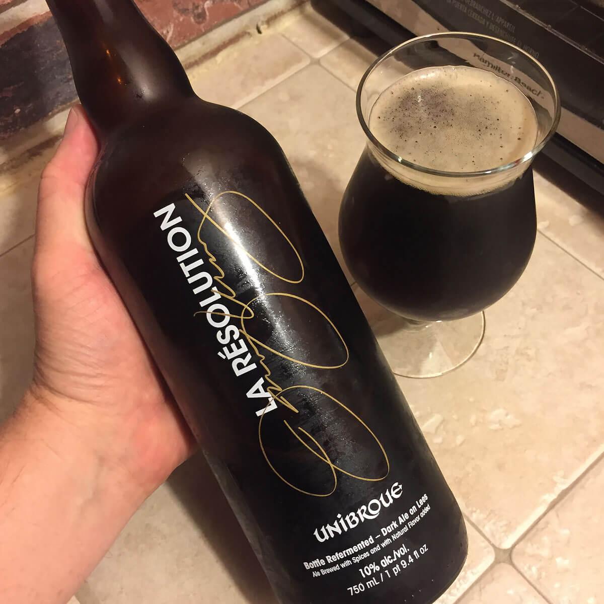 La Résolution, a Belgian-style Strong Dark Ale brewed by Unibroue
