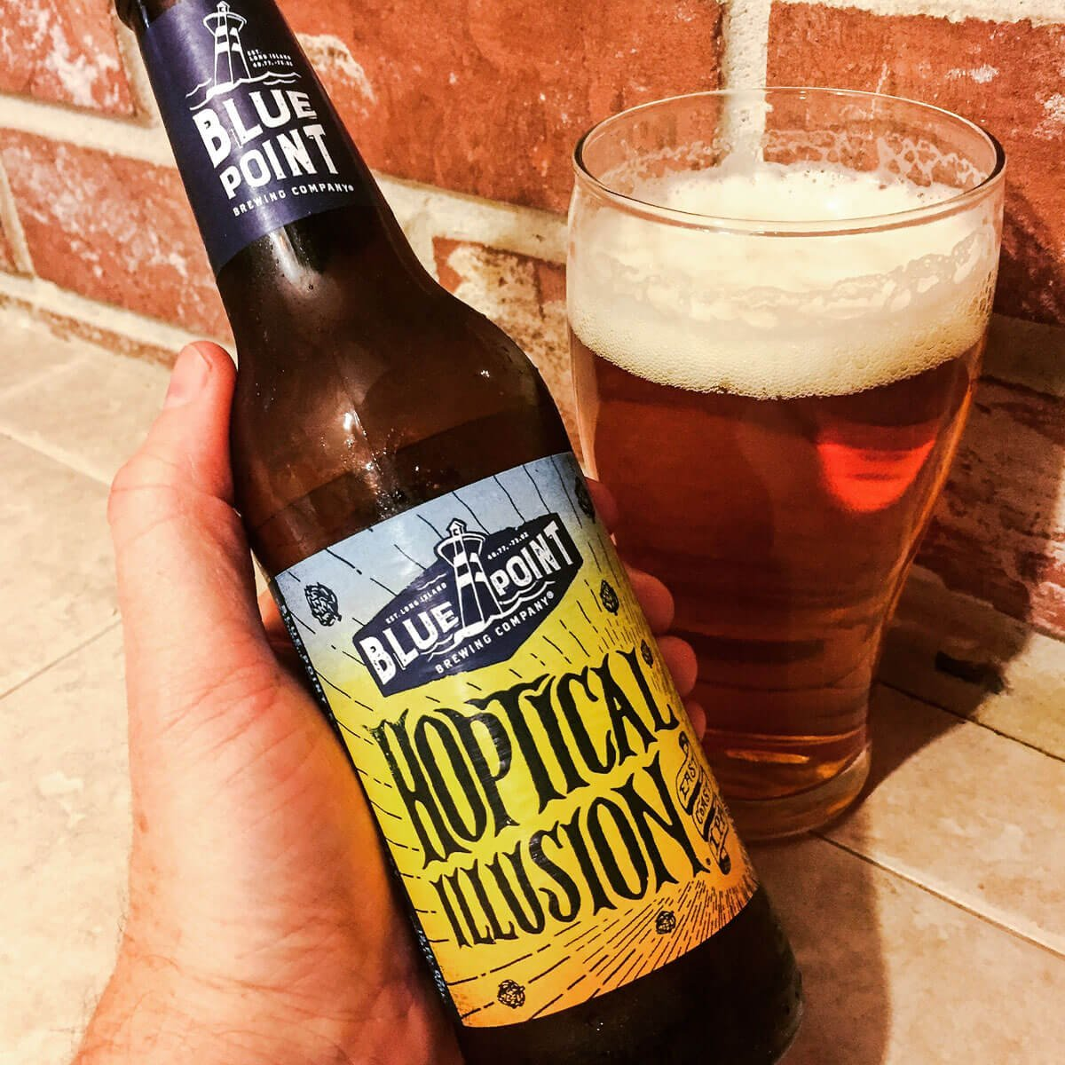 Hoptical Illusion, an American IPA by Blue Point Brewing Company