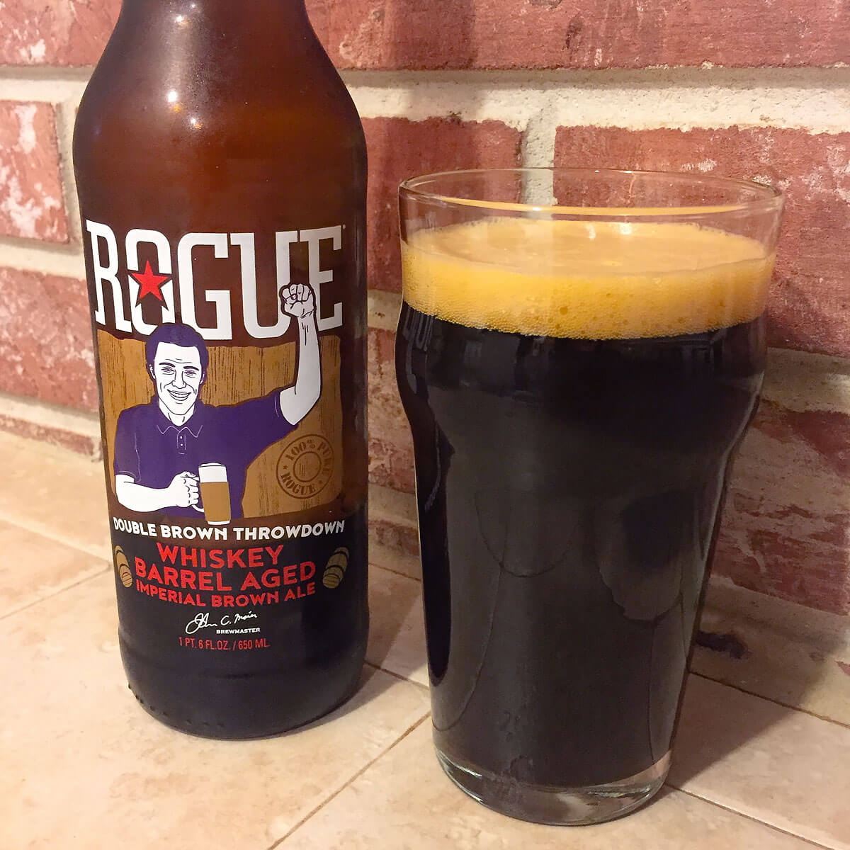 Double Brown Throwdown Whiskey Barrel Aged Imperial Brown Ale, an American Brown Ale by Rogue Ales