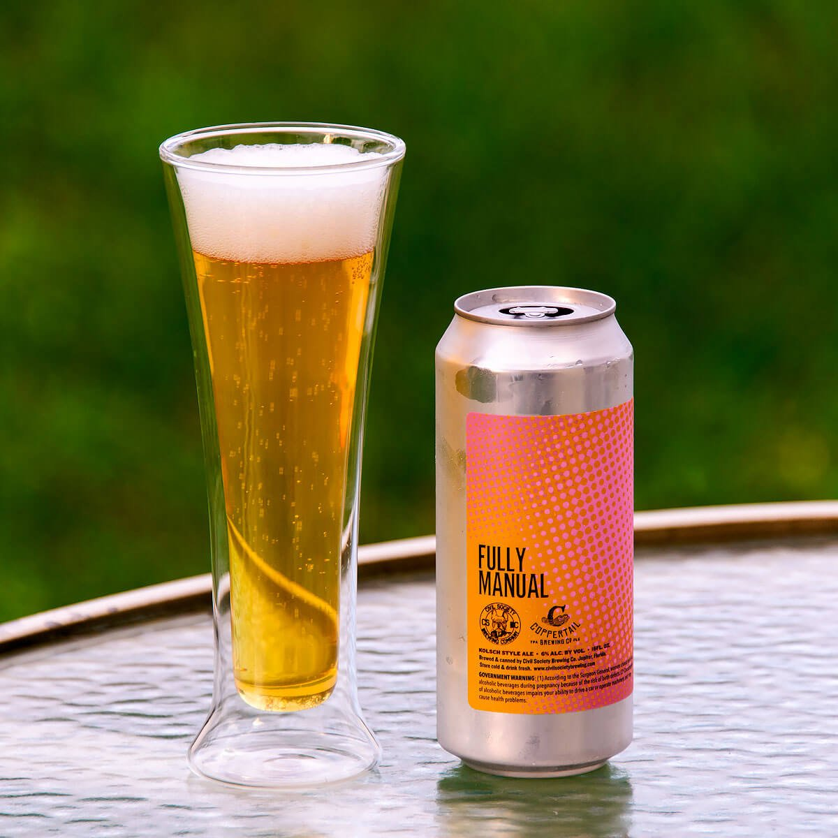 Fully Manual, a German-style Kölsch collaboratively brewed by Civil Society Brewing Co. and Coppertail Brewing Co.