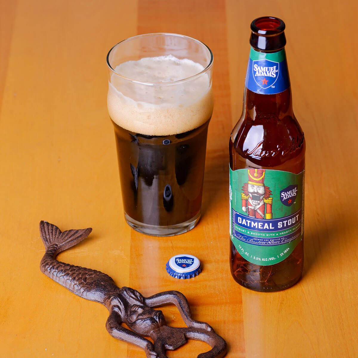 Samuel Adams Oatmeal Stout, an English-style Oatmeal Stout brewed by the Boston Beer Company