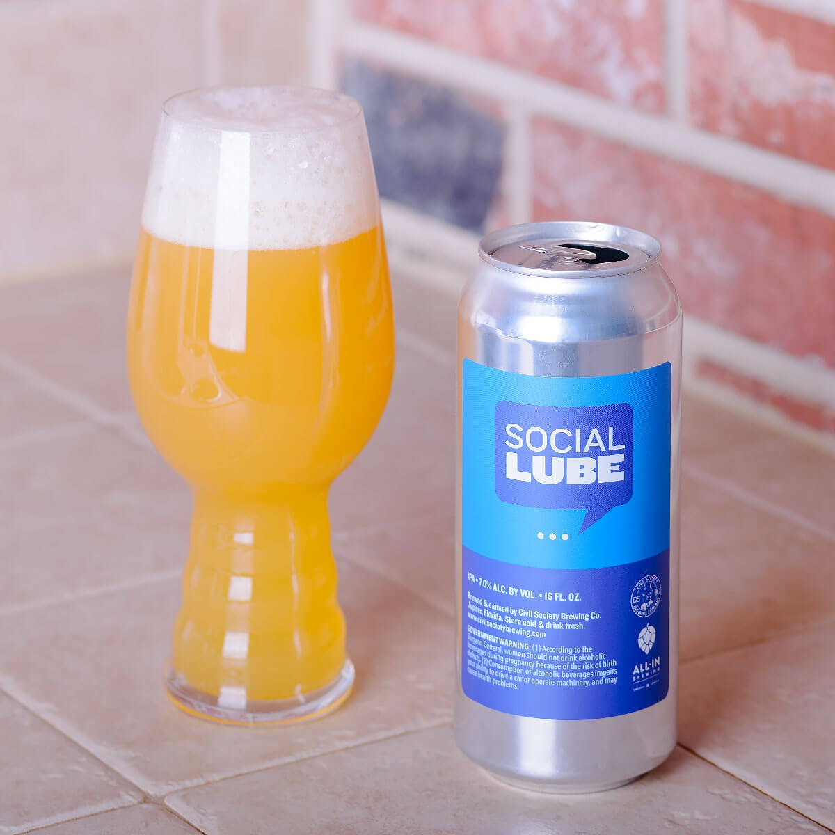 Social Lube, an American IPA by Civil Society Brewing Co. and All In Brewing
