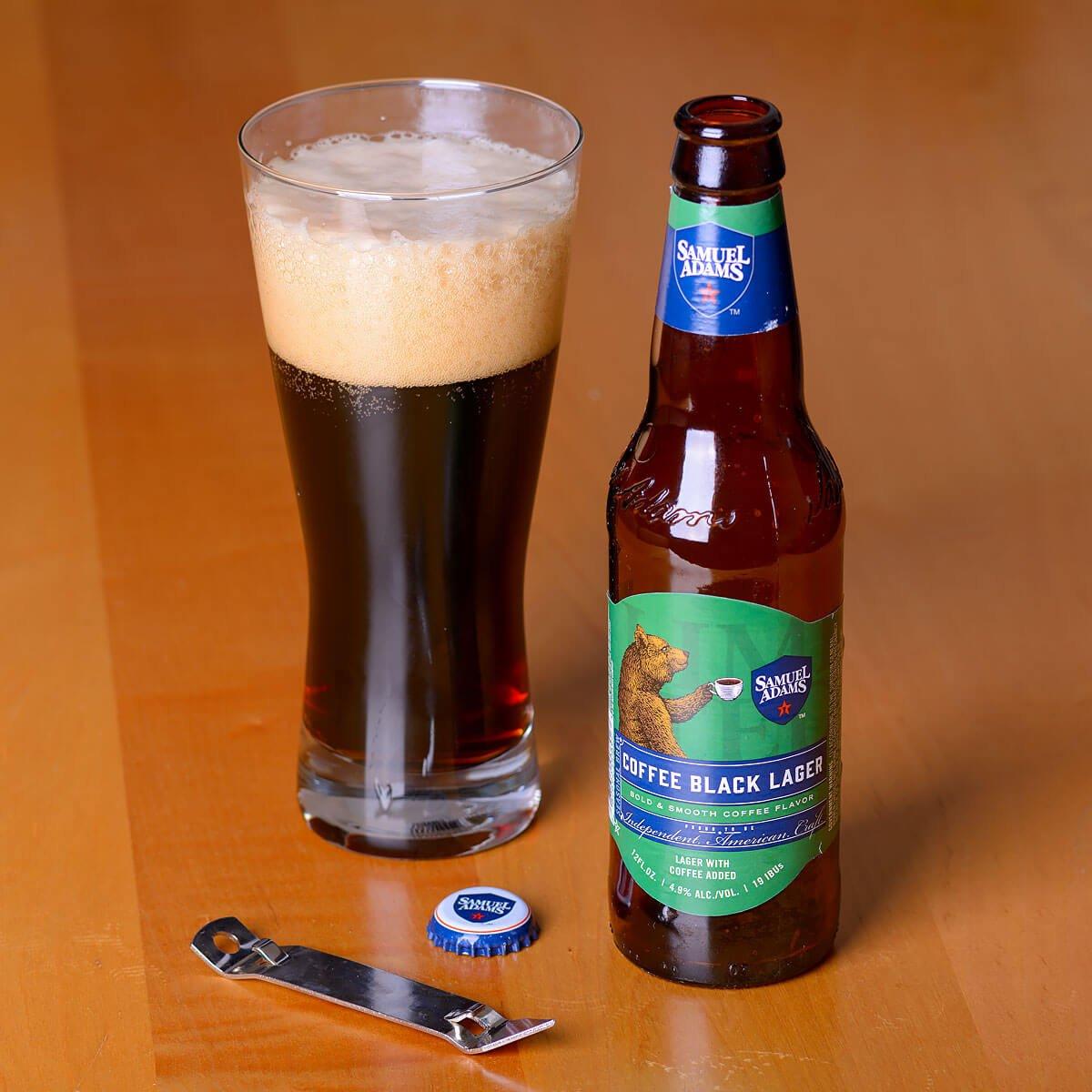 Samuel Adams Coffee Black Lager, a German-style Schwarzbier brewed by the Boston Beer Company