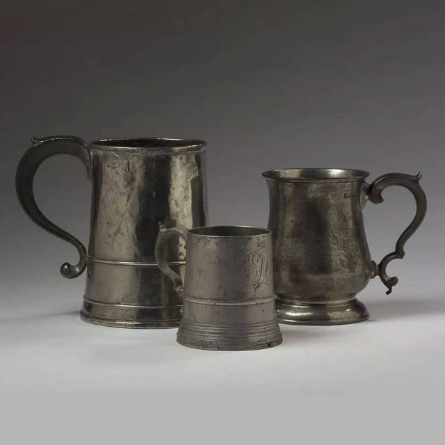 Vintage Examples of 18th Century English Pewter Tankards