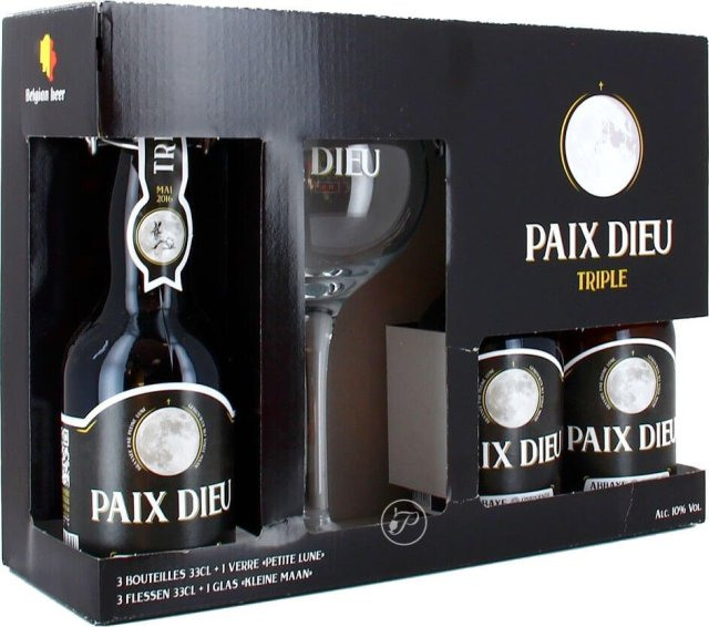 Packaging art for the Paix Dieu Triple by Brasserie Caulier