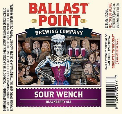 Label art for the Sour Wench by Ballast Point Brewing Company