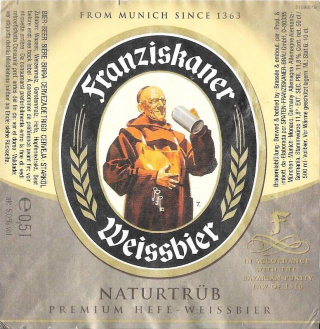Label art for the Franziskaner Hefe-Weisse by Spaten-Franziskaner-Bräu