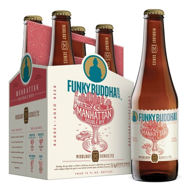Packaging art for the Manhattan Double Rye Ale by Funky Buddha Brewery