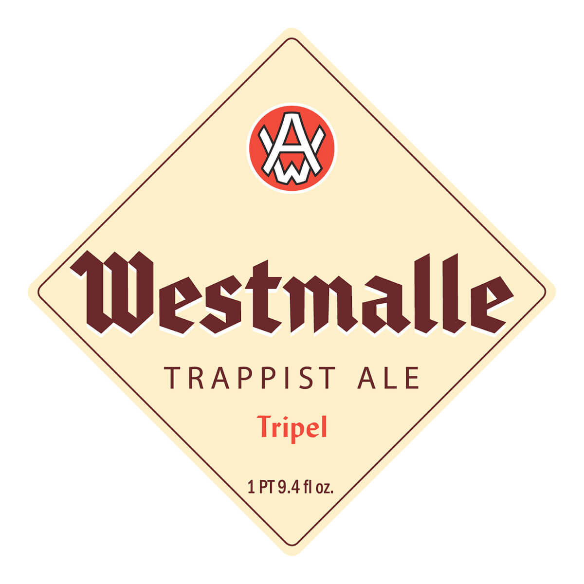 Label art for the Westmalle Tripel by Westmalle Brewery