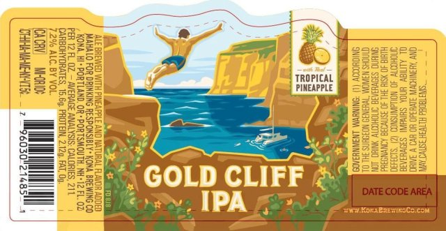 Label art for the Gold Cliff IPA by Kona Brewing Co.