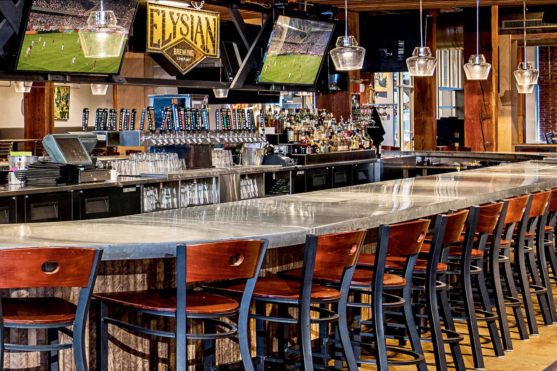 Inside the Tap Room of Elysian Brewing Company in Seattle, Wasington
