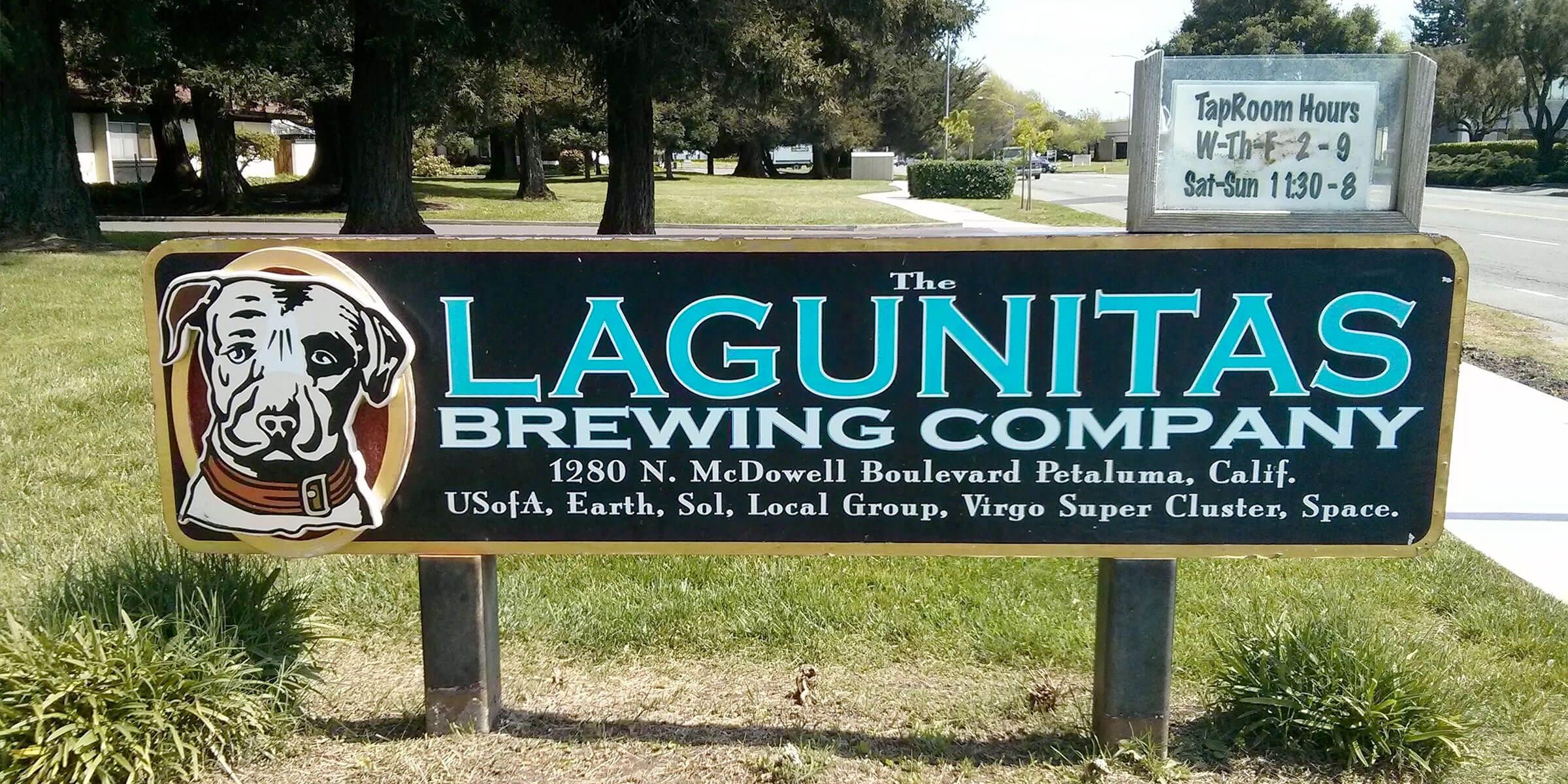 Signage posted outside the Lagunitas Brewing Company taproom in Petaluma, California