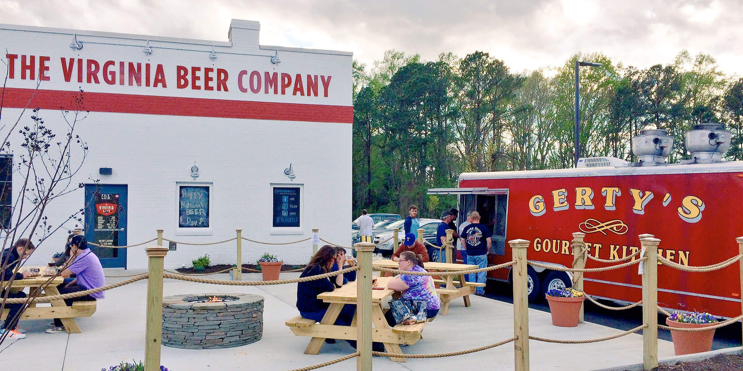 Outside The Virginia Beer Company taproom in Williamsburg, Virginia