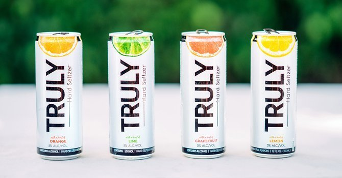 Cans of Truly Hard Seltzer, a product of the Boston Beer Company