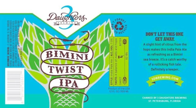 Label art for the Bimini Twist IPA by 3 Daughters Brewing