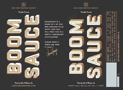 Label art for the Boomsauce by Lord Hobo Brewing Co.