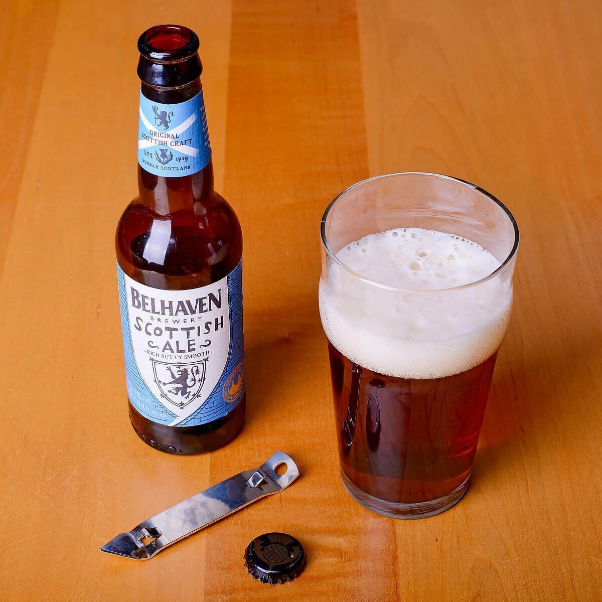 Belhaven Scottish Ale is brewed in the Scottish Export style by Belhaven Brewery Company Ltd. and blends biscuit, toffee, earthy hops, and lemon.