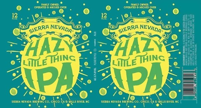 Label art for the Hazy Little Thing IPA by Sierra Nevada Brewing Co.