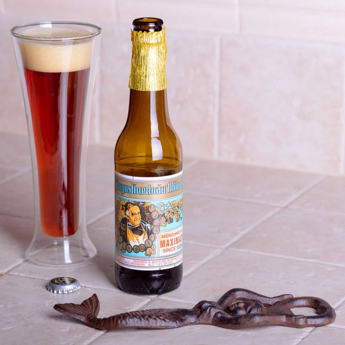 Augustiner Bräu Maximator, a Doppelbock brewed by Augustiner-Bräu Wagner KG blends plum, raisin, and cherry with chocolate, brown bread, and booze.