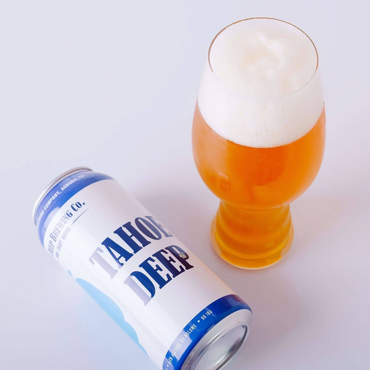 Tahoe Deep is an American Double IPA brewed by Knee Deep Brewing Co. whose hop-centered palate blends pine, citrus, spicy, and resinous hops with fruits and toasted bread.