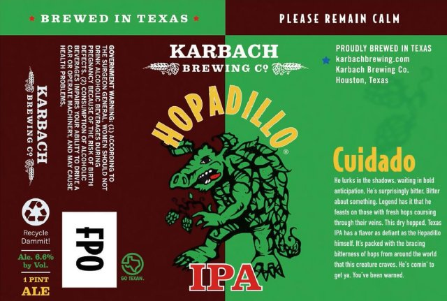 Label art for the Hopadillo IPA by Karbach Brewing Co.