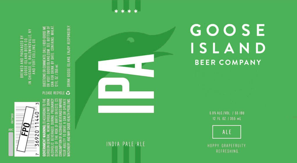 Label art for the Goose Island IPA by Goose Island Beer Co.
