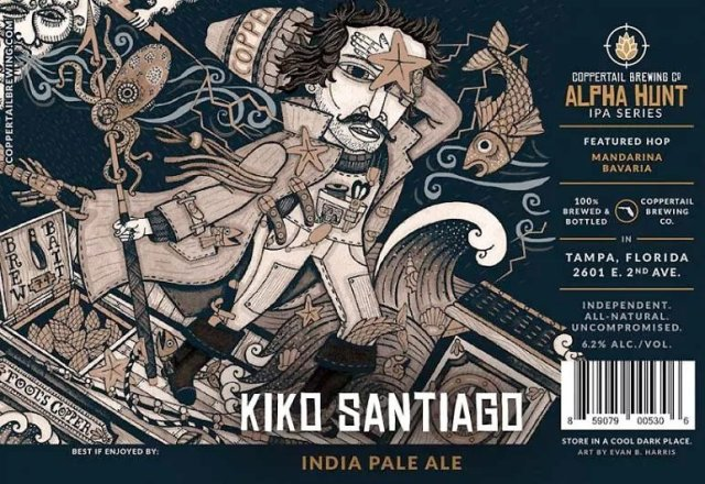 Label art for the Kiko Santiago by Coppertail Brewing Co.