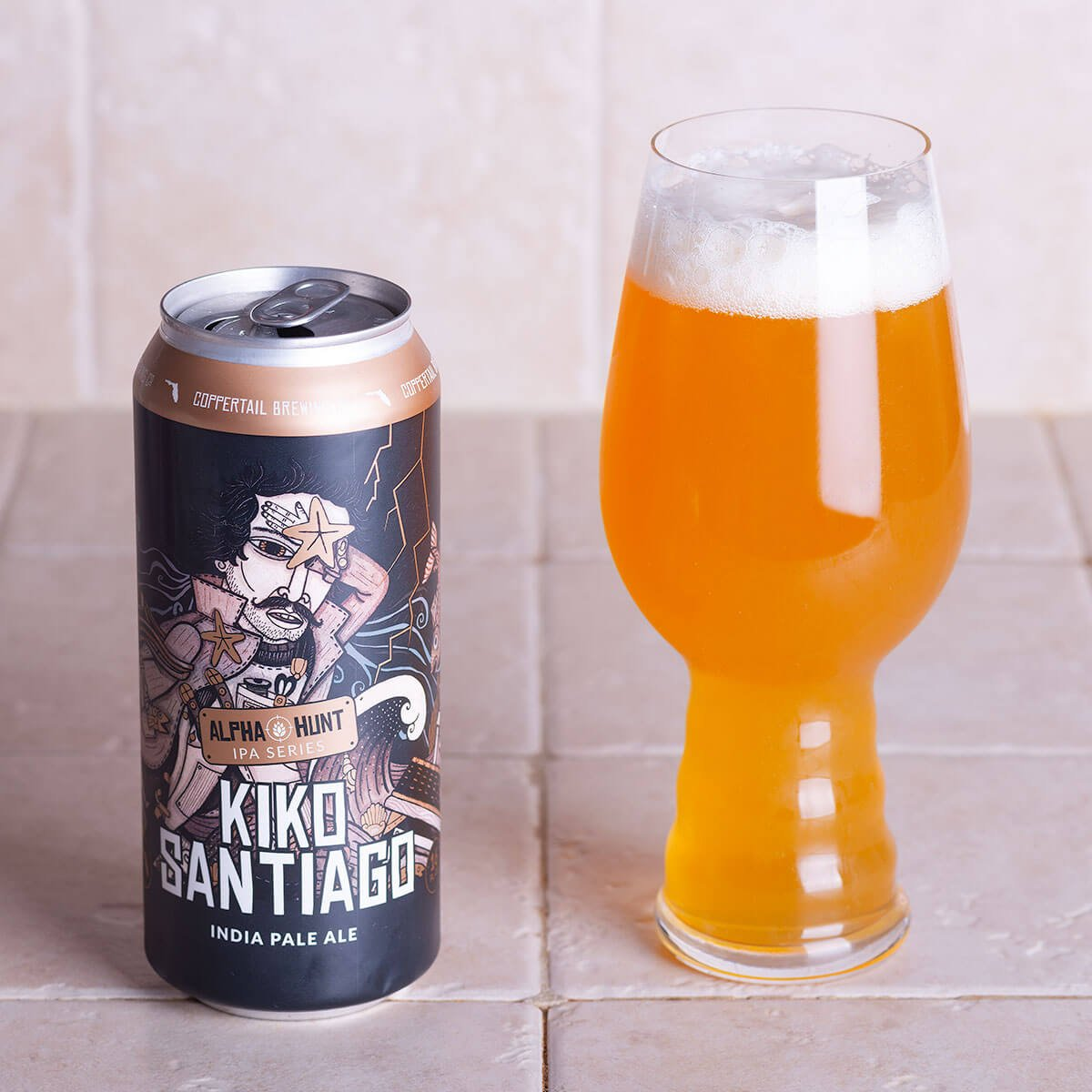 Kiko Santiago is an American IPA brewed by Coppertail Brewing Co. whose hoppy palate imparts juicy citrus and piney flavors.